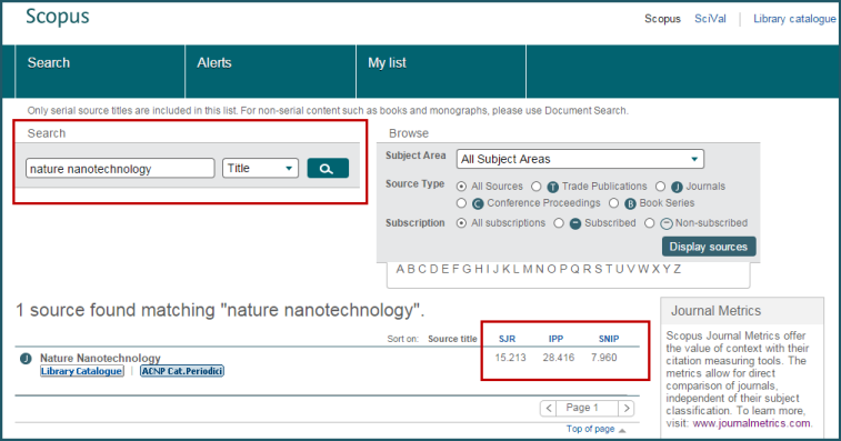 Browse Sources in Scopus SJR, IPP, SNIP
